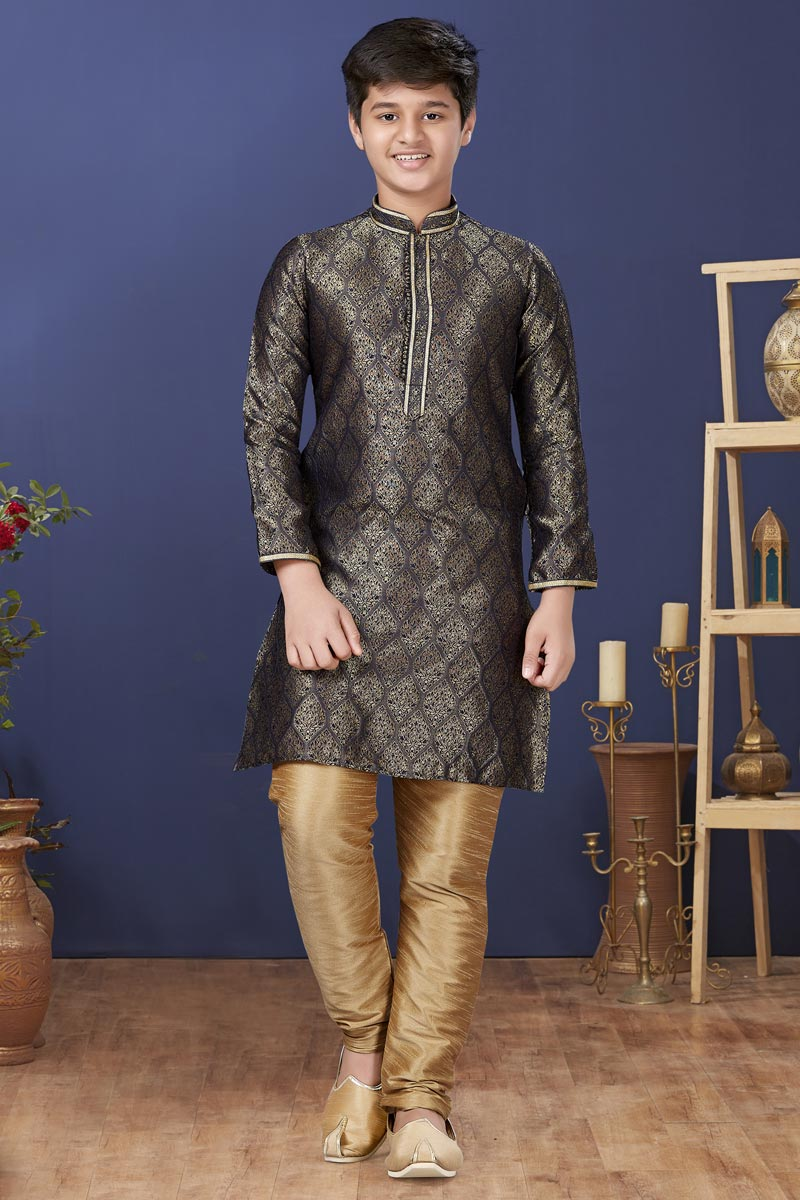 Black Color Jacquard Silk Fabric Reception Wear Fancy Kids Wear Kurta Pyjama