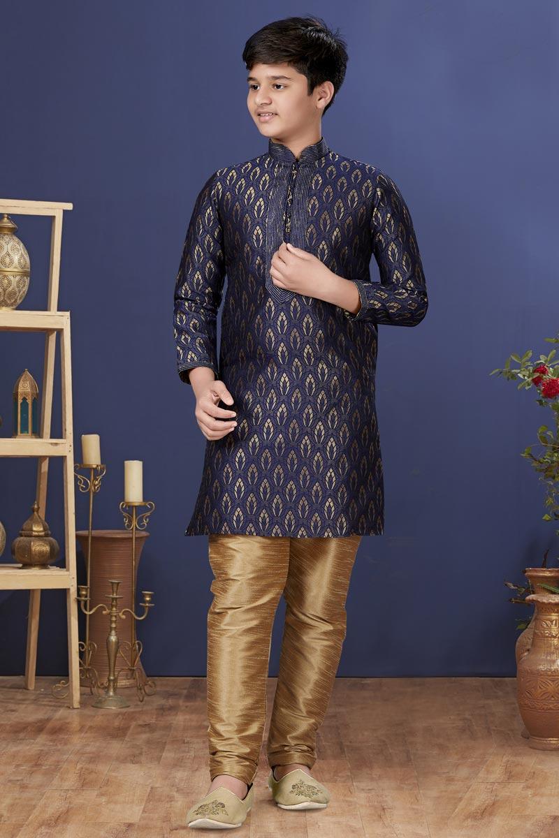 Navy Blue Color Jacquard Silk Fabric Function Wear Fancy Kids Wear Kurta Pyjama