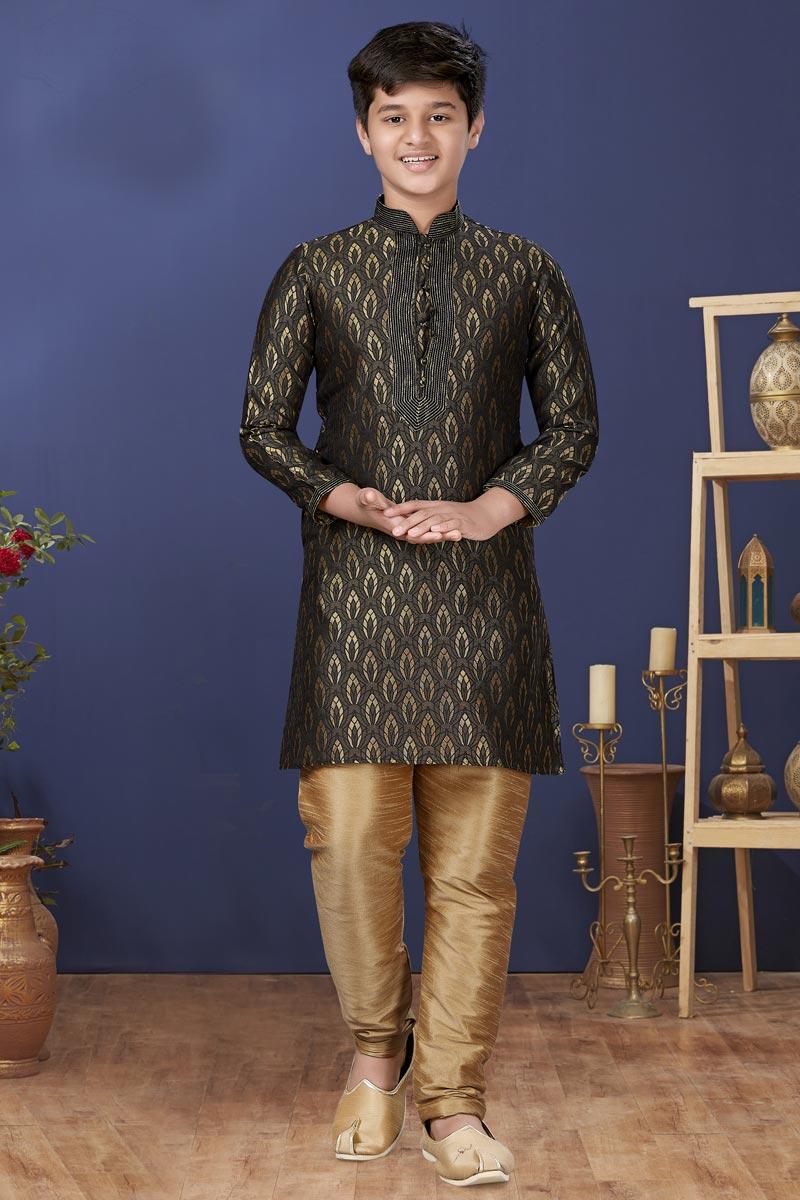 Black Color Jacquard Silk Fabric Festive Wear Stylish Kids Wear Kurta Pyjama