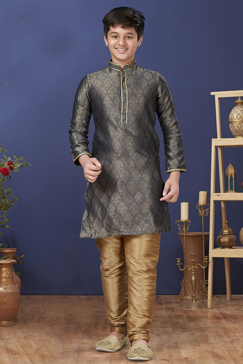 Grey Color Jacquard Silk Fabric Sangeet Wear Trendy Kids Wear Kurta Pyjama