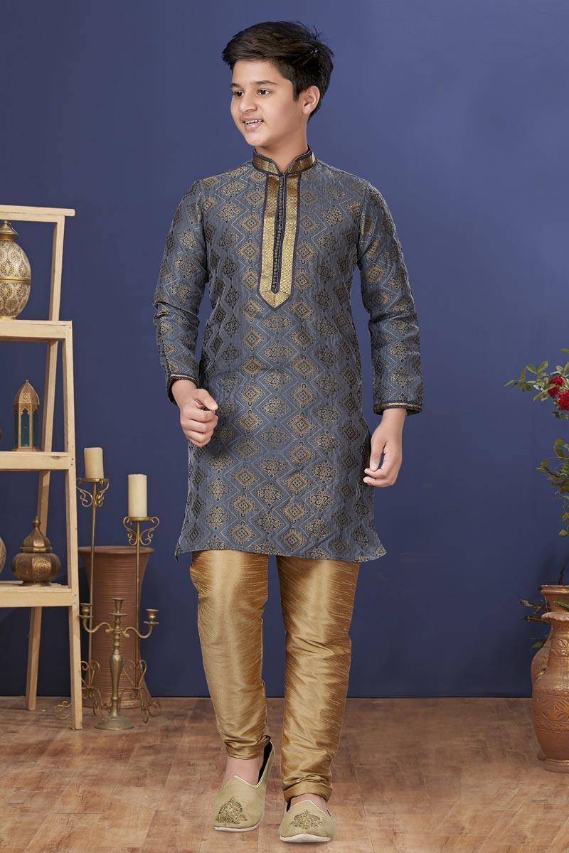 Grey Color Jacquard Silk Fabric Reception Wear Fancy Kids Wear Kurta Pyjama