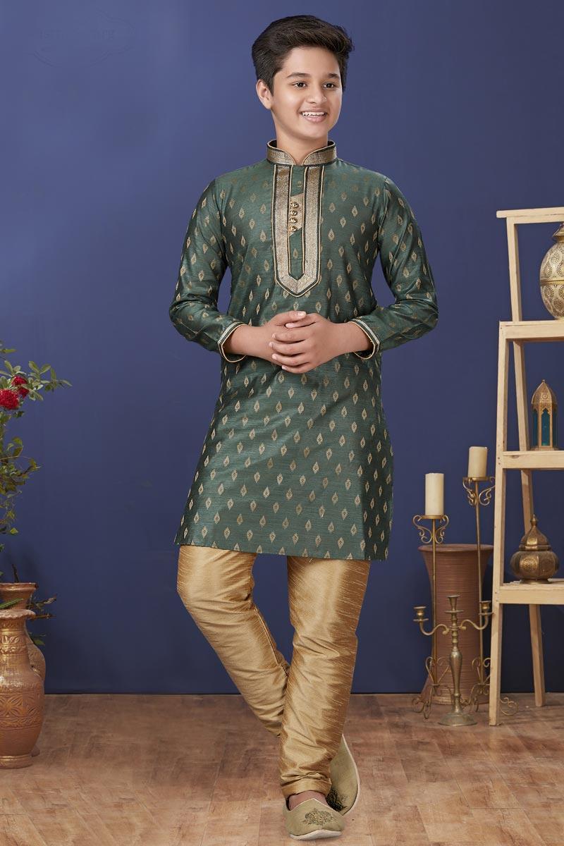 Green Color Jacquard Silk Fabric Function Wear Fancy Kids Wear Kurta Pyjama