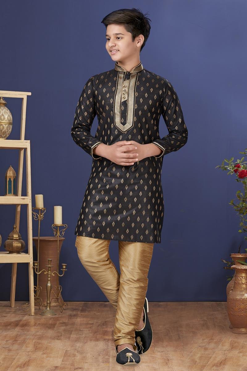 Jacquard Silk Fabric Festive Wear Stylish Kids Wear Kurta Pyjama