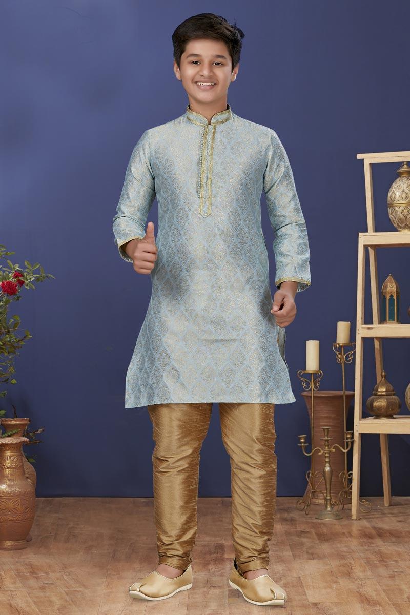 Light Cyan Color Jacquard Silk Fabric Reception Wear Fancy Kids Wear Kurta Pyjama