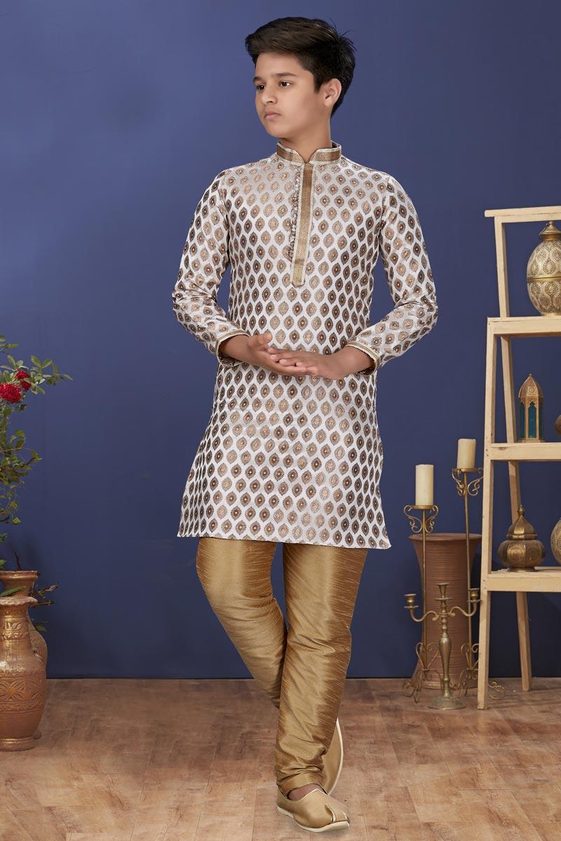 Off White Color Jacquard Silk Fabric Function Wear Fancy Kids Wear Kurta Pyjama
