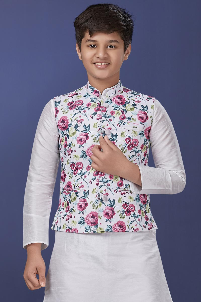 White Color Cotton Fabric Function Wear Fancy Jacket For Boys Wear