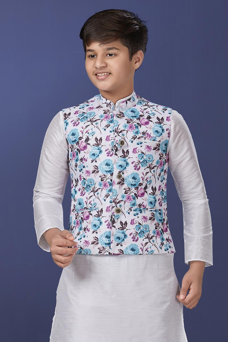 White Color Cotton Fabric Sangeet Wear Trendy Jacket For Boys Wear
