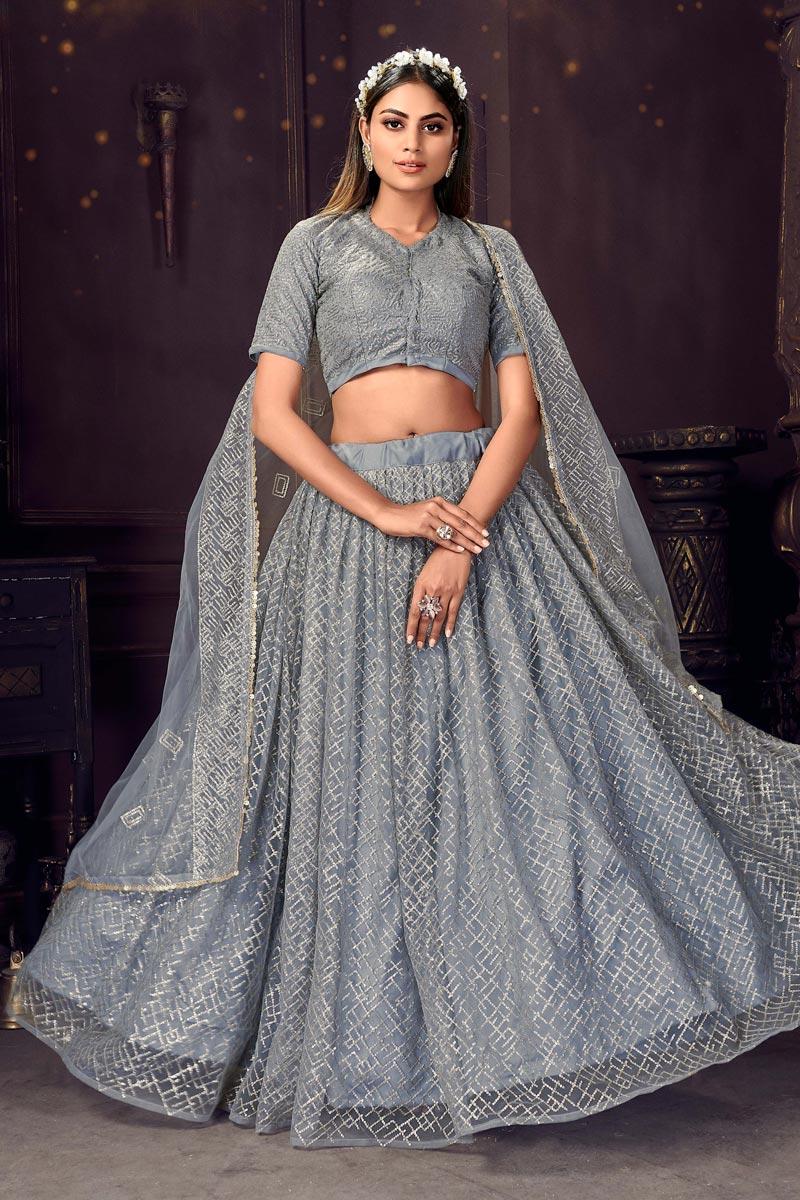 Grey Color Sequins Work Designer Wedding Wear Net Fabric Lehenga Choli