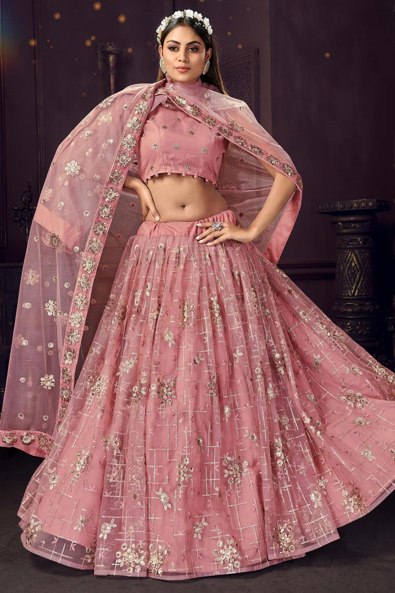 Pink Color Net Fabric Sequins Work Function Wear Fancy Lehenga Choli