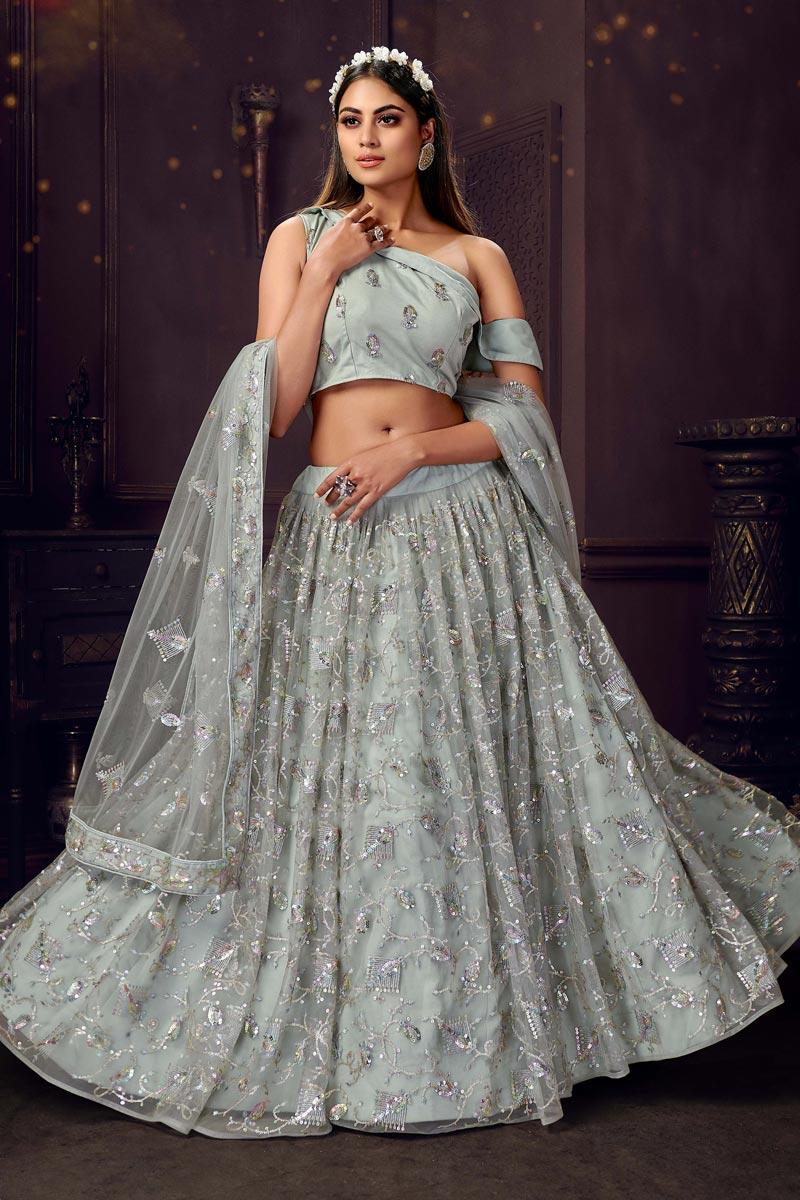 Sequins Work Sangeet Wear Stylish Lehenga Choli In Grey Color Net Fabric