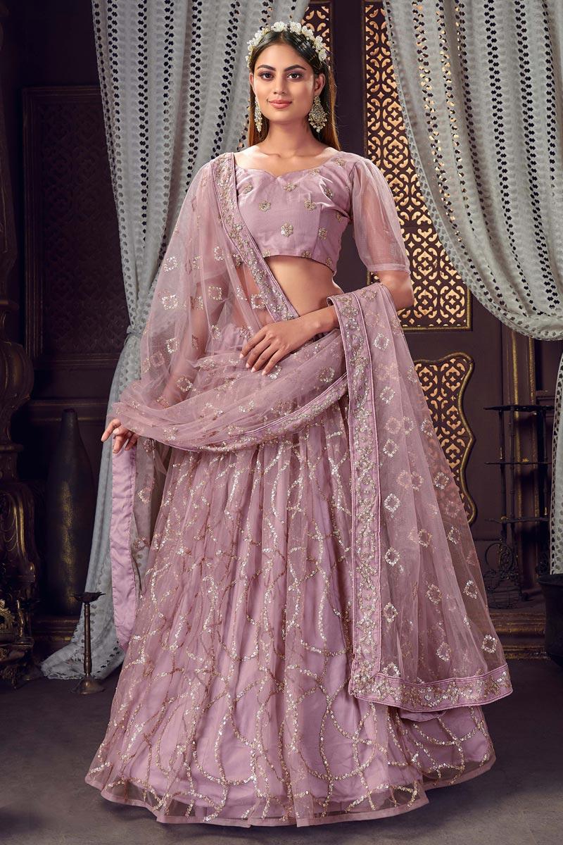 Net Fabric Sequins Work Wedding Wear Designer Lehenga Choli In Lavender Color