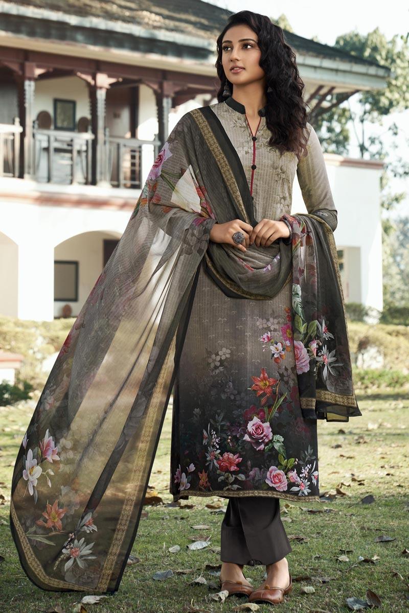 Dark Beige Color Crepe Fabric Printed Daily Wear Fancy Salwar Kameez
