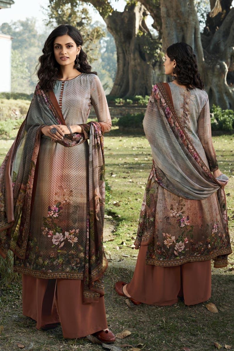 Multi Color Printed Casual Wear Trendy Salwar Suit In Crepe Fabric
