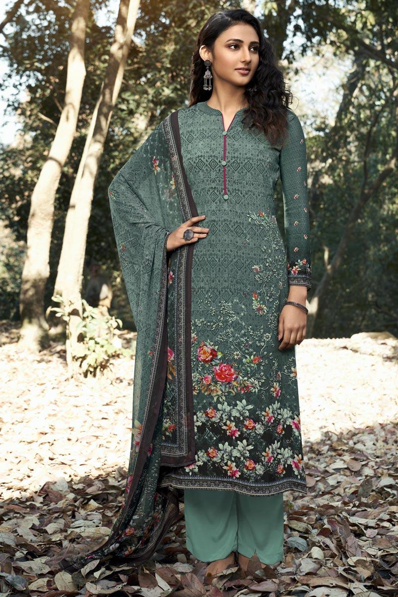 Printed Cyan Color Crepe Fabric Office Wear Salwar Kameez