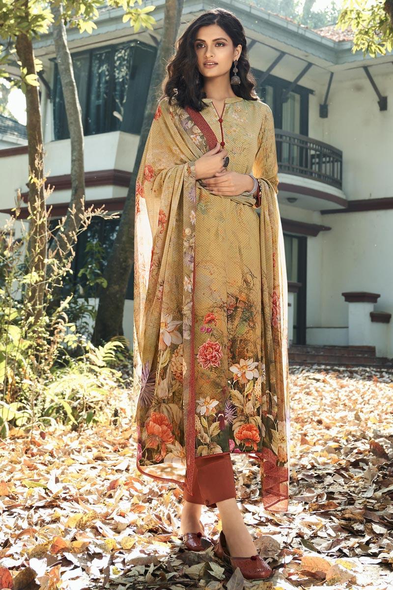 Crepe Fabric Printed Daily Wear Fancy Salwar Kameez In Cream Color