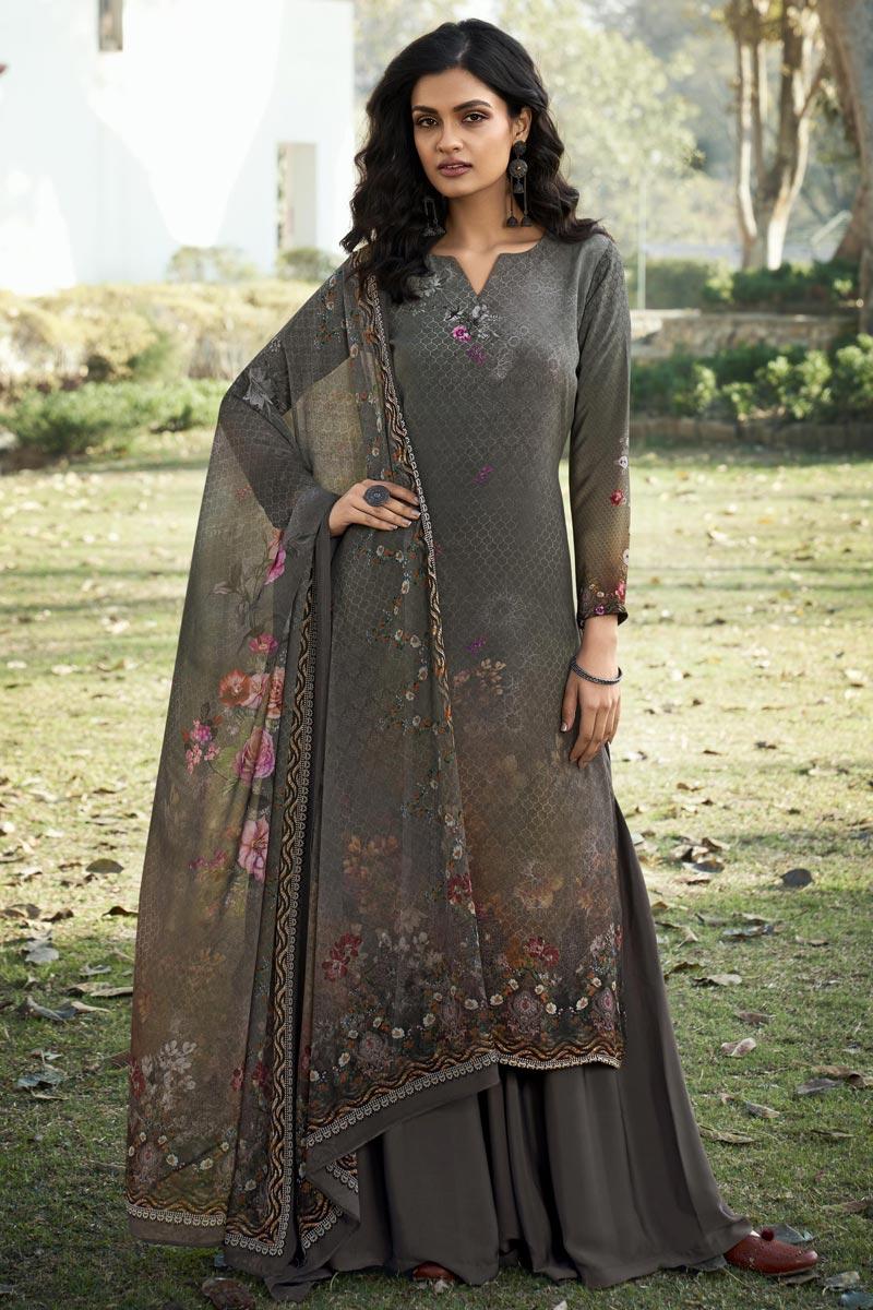 Printed Office Wear Salwar Kameez In Grey Color Crepe Fabric