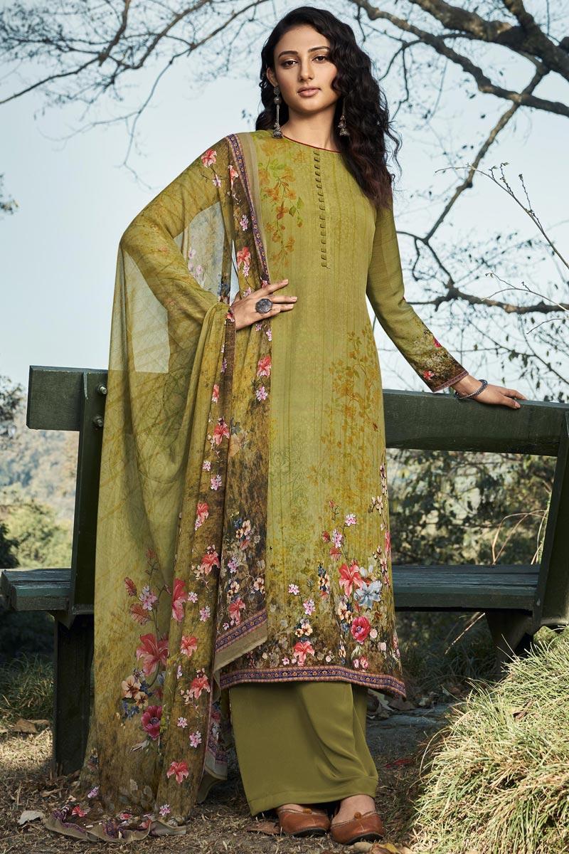 Crepe Fabric Printed Daily Wear Fancy Salwar Kameez