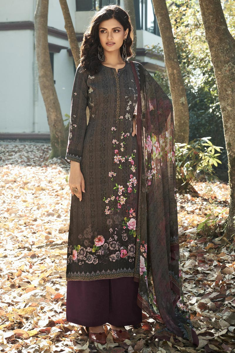 Crepe Fabric Wine Color Printed Casual Wear Trendy Salwar Suit