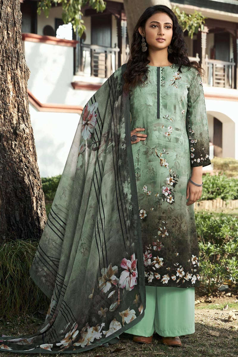 Printed Sea Green Color Crepe Fabric Office Wear Salwar Kameez