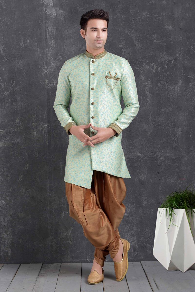Sea Green Color Art Silk Fabric Function Wear Fancy Dhoti Style Indo Western For Men