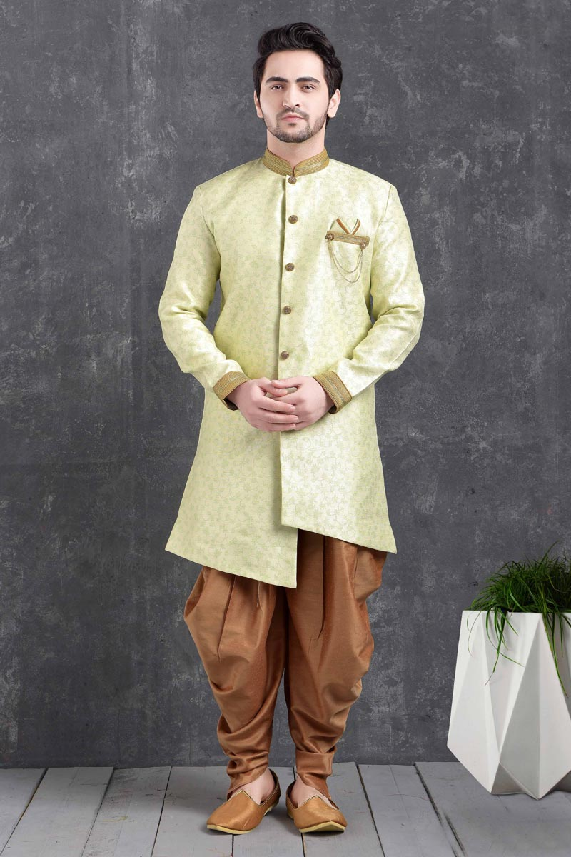 Yellow Color Art Silk Fabric Festive Wear Trendy Dhoti Style Indo Western For Men