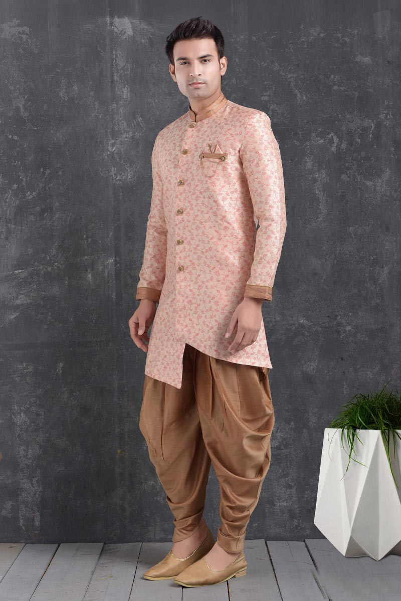 Pink Color Art Silk Fabric Sangeet Wear Stylish Dhoti Style Indo Western For Men