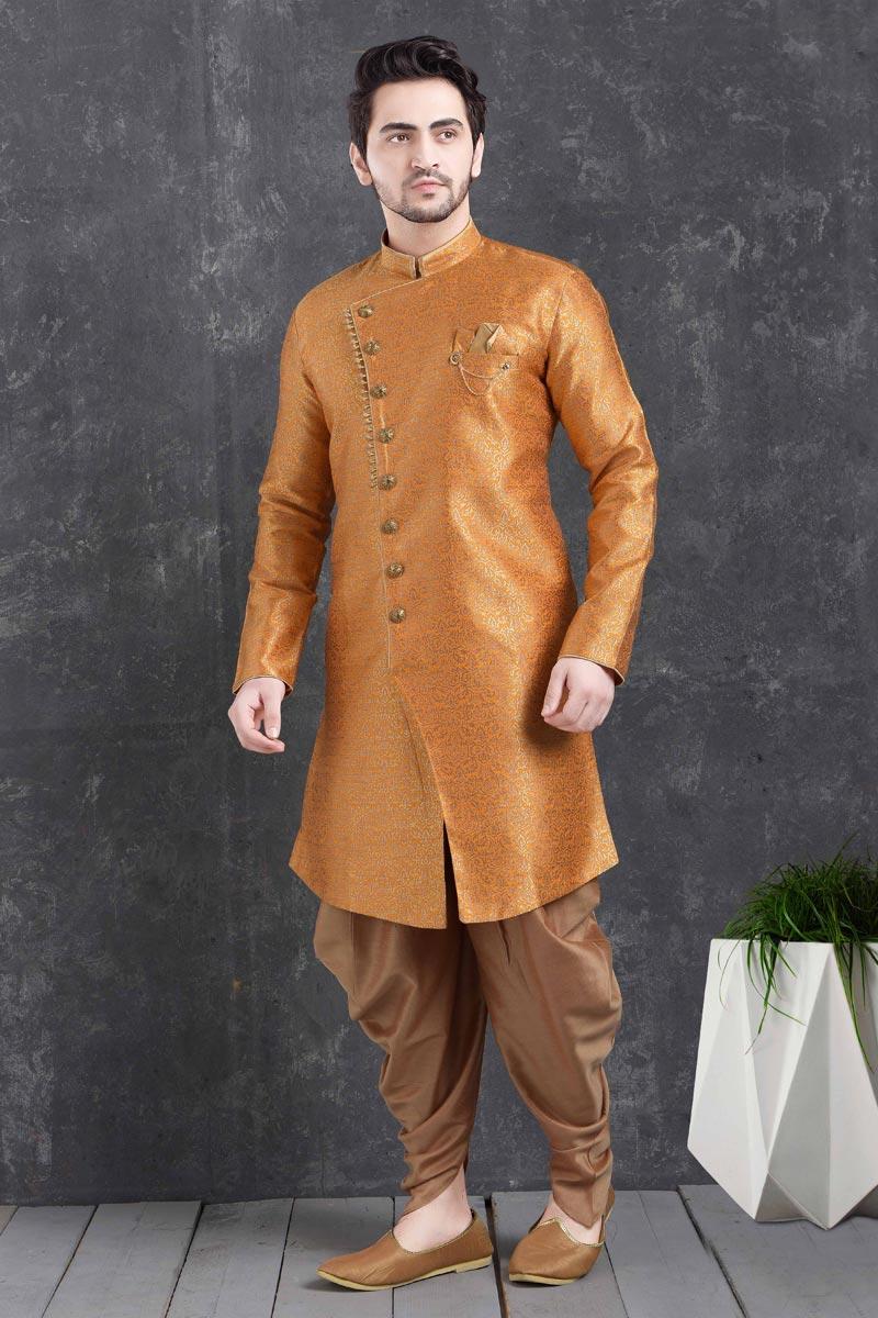 Orange Color Art Silk Fabric Reception Wear Fancy Dhoti Style Indo Western For Men