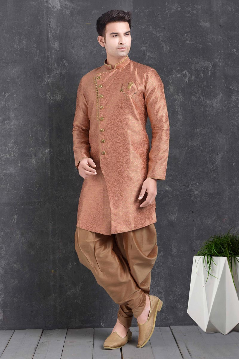 Peach Color Art Silk Fabric Function Wear Fancy Dhoti Style Indo Western For Men