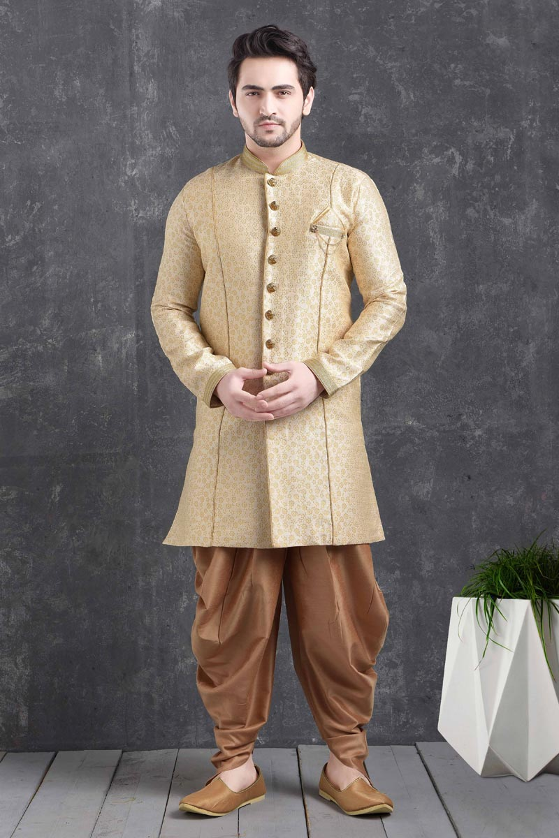 Beige Color Art Silk Fabric Festive Wear Trendy Dhoti Style Indo Western For Men