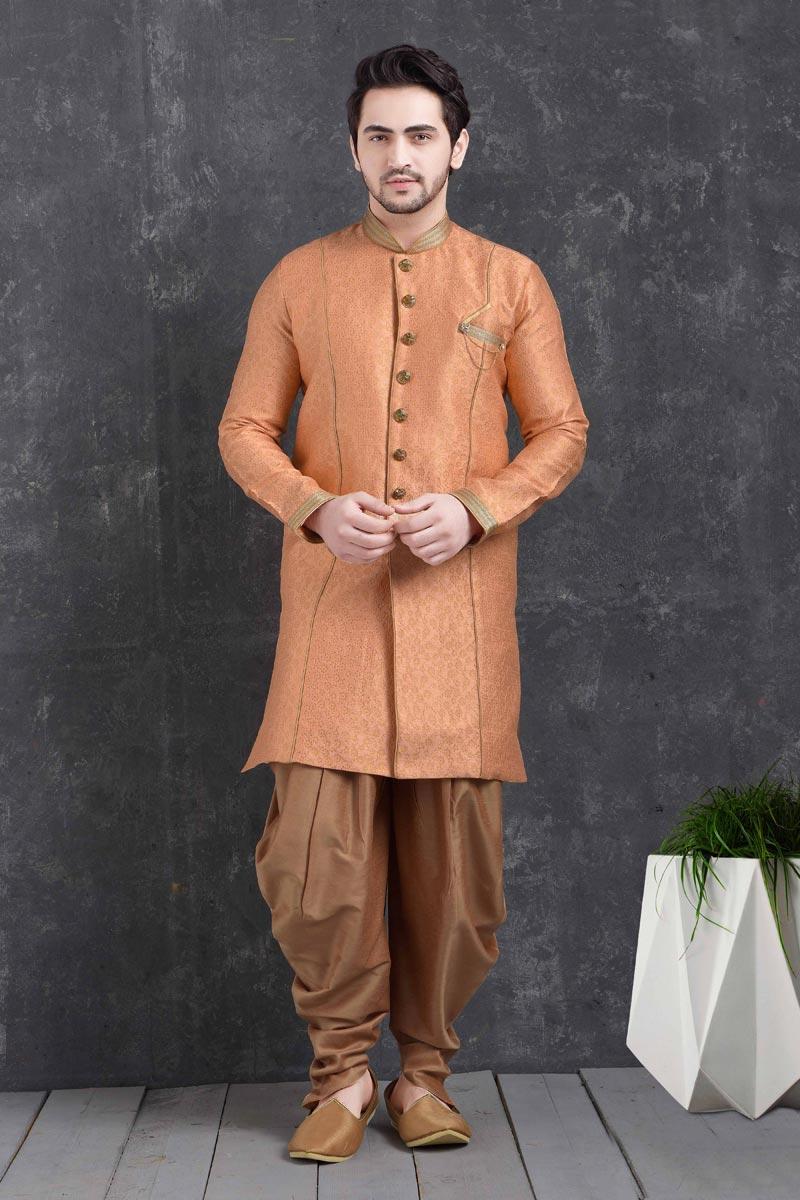 Peach Color Art Silk Fabric Sangeet Wear Stylish Dhoti Style Indo Western For Men