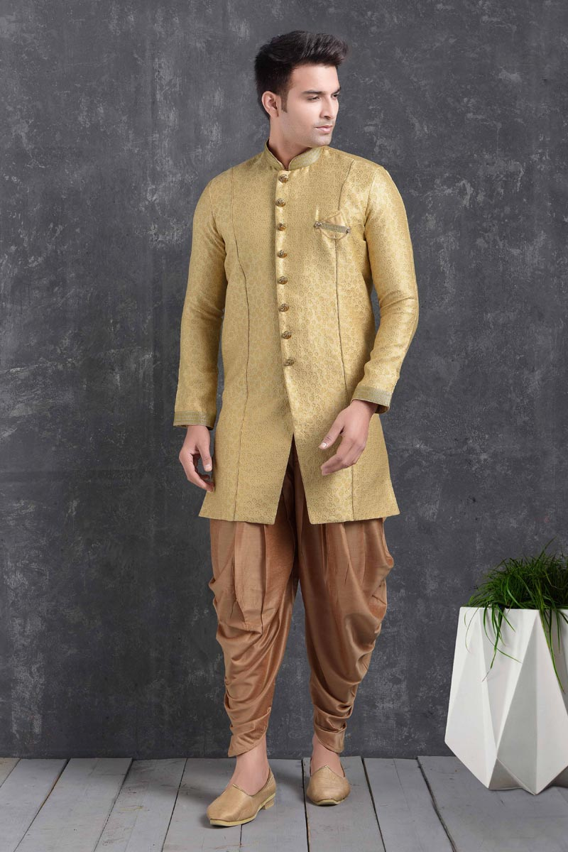 Golden Color Art Silk Fabric Wedding Wear Designer Dhoti Style Indo Western For Men