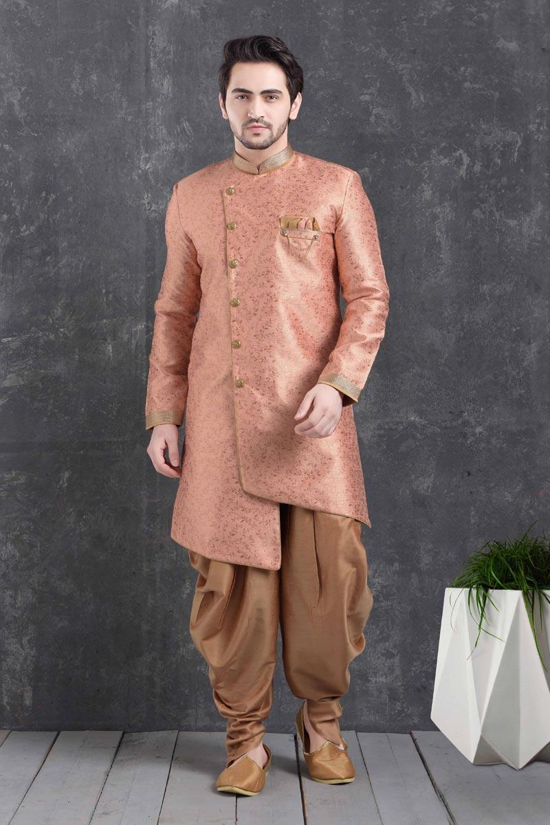 Peach Color Art Silk Fabric Reception Wear Fancy Dhoti Style Indo Western For Men