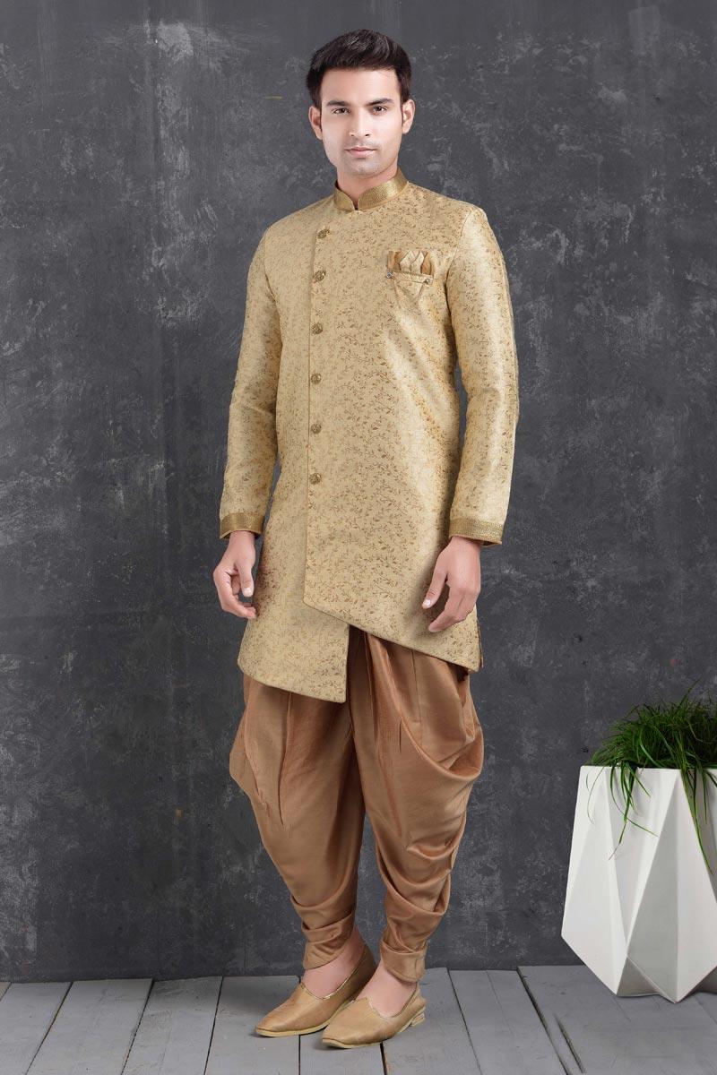 Beige Color Art Silk Fabric Function Wear Fancy Dhoti Style Indo Western For Men