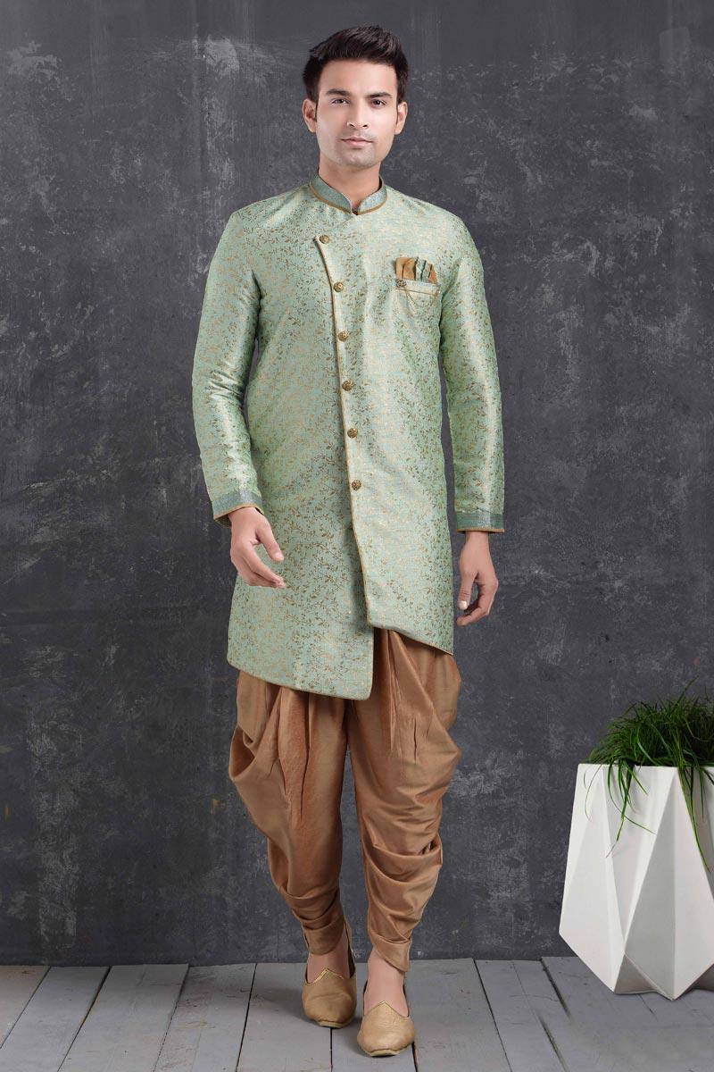 Sea Green Color Art Silk Fabric Festive Wear Trendy Dhoti Style Indo Western For Men