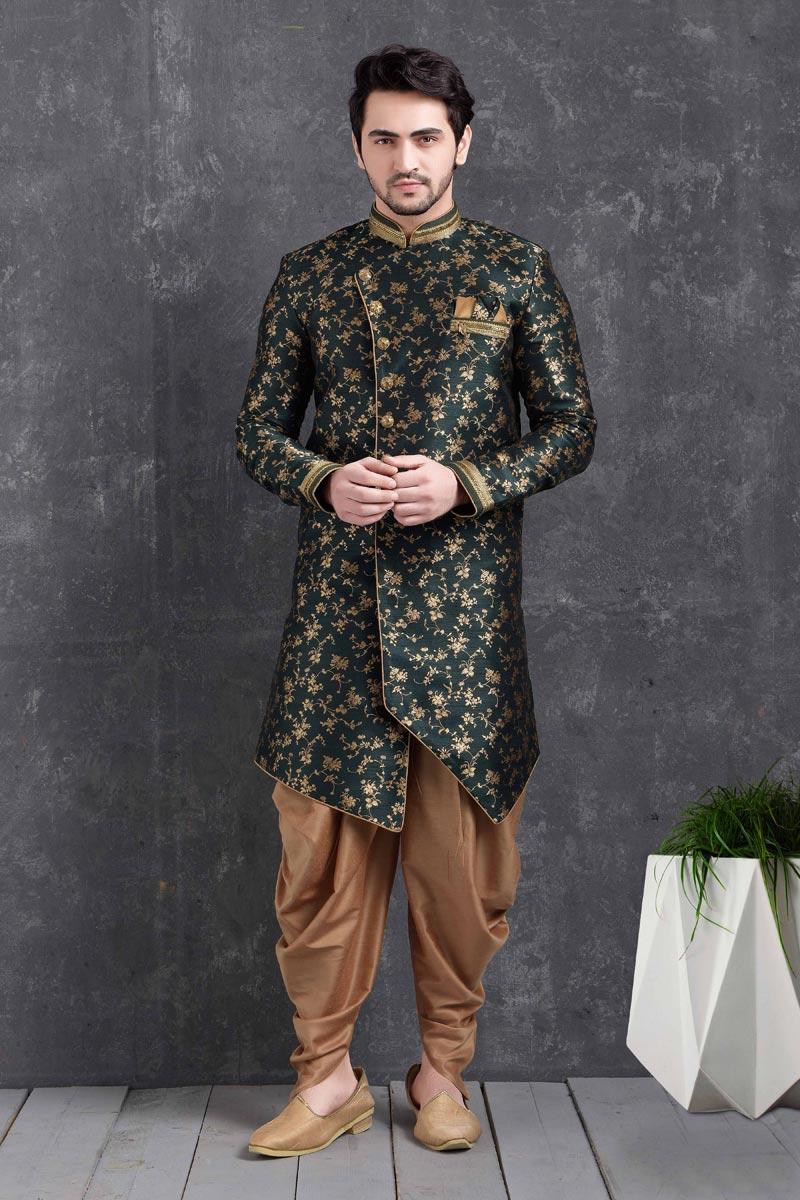 Dark Green Color Art Silk Fabric Wedding Wear Designer Dhoti Style Indo Western For Men