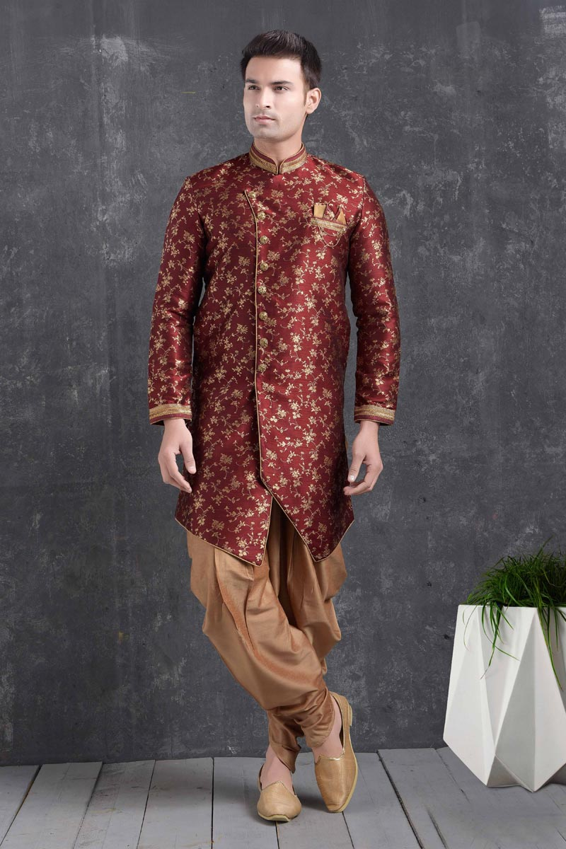 Maroon Color Art Silk Fabric Reception Wear Fancy Dhoti Style Indo Western For Men