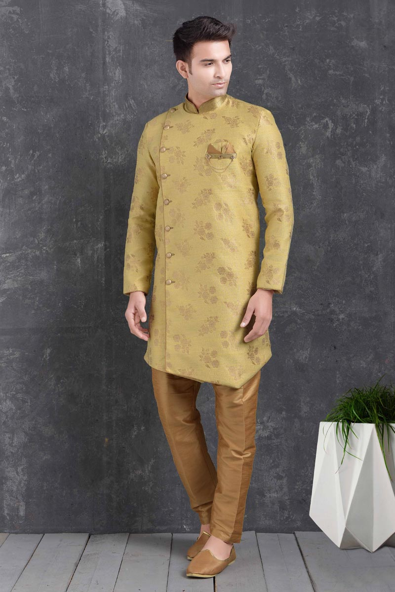 Yellow Color Art Silk Fabric Function Wear Fancy Indo Western For Men