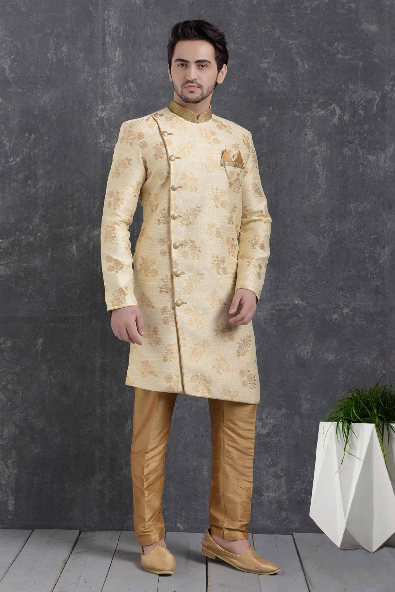 Beige Color Art Silk Fabric Festive Wear Trendy Indo Western For Men