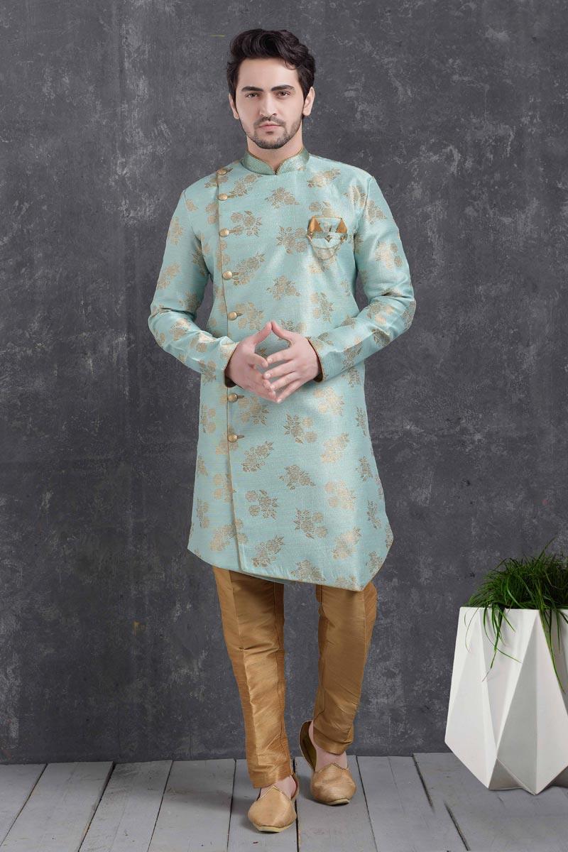 Light Cyan Color Art Silk Fabric Sangeet Wear Stylish Indo Western For Men