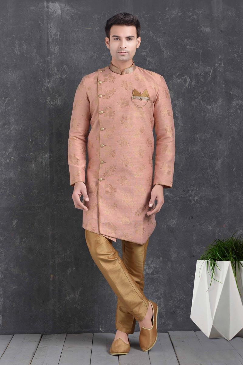 Peach Color Art Silk Fabric Wedding Wear Designer Indo Western For Men