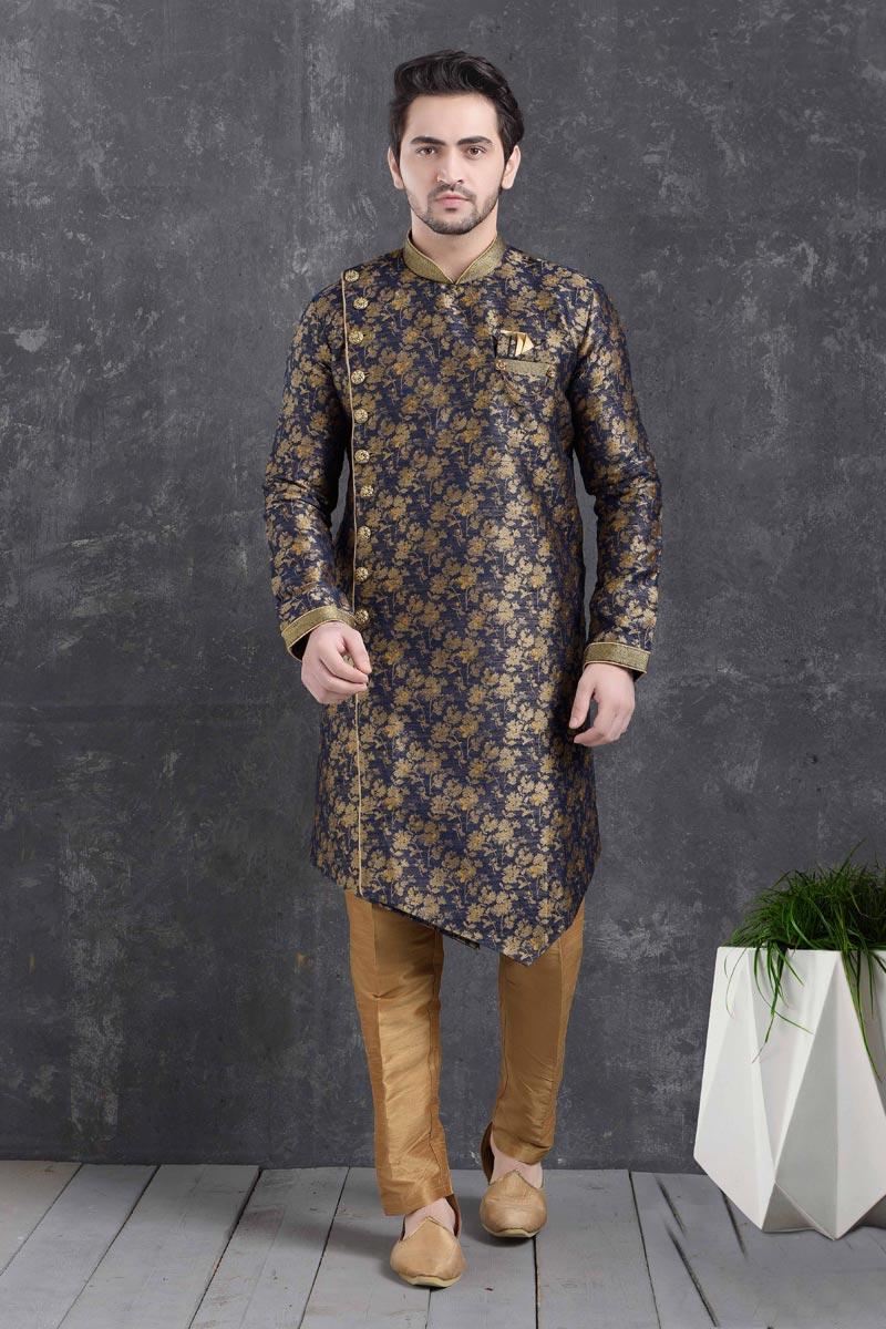 Navy Blue Color Art Silk Fabric Reception Wear Fancy Indo Western For Men