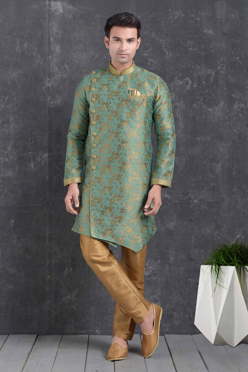 Sea Green Color Art Silk Fabric Function Wear Fancy Indo Western For Men