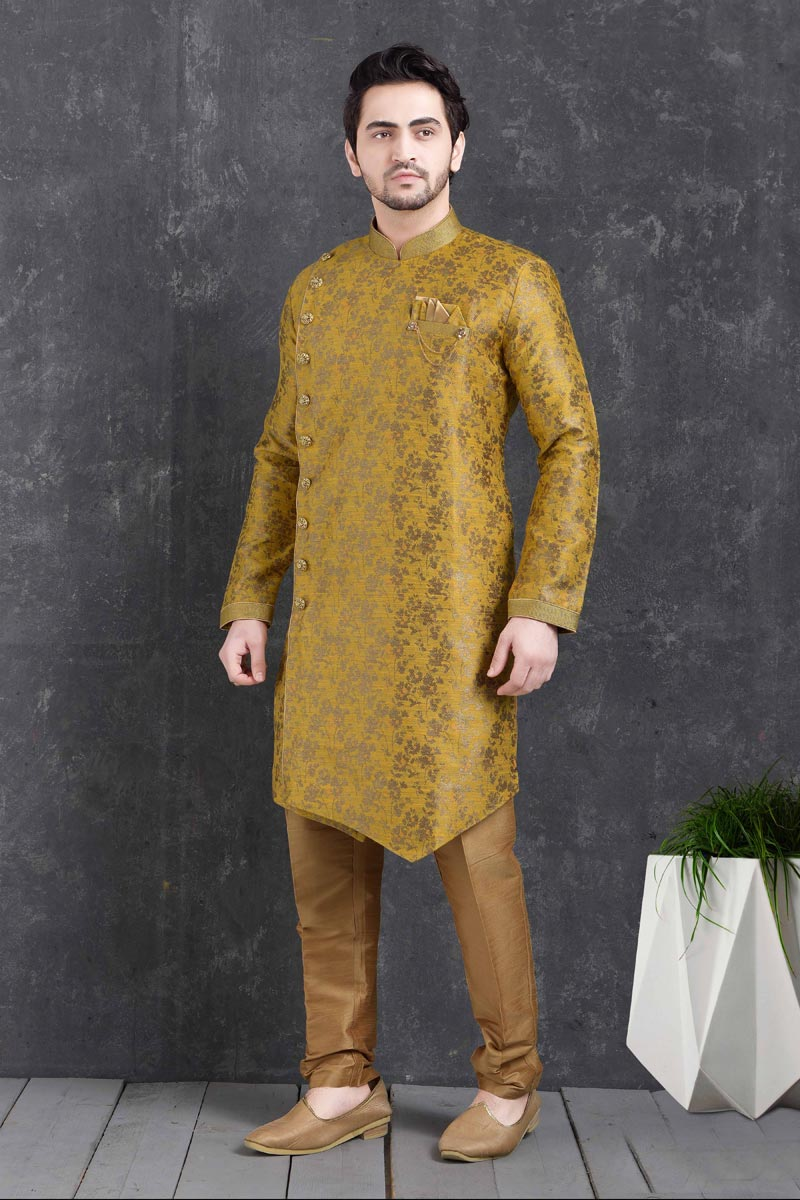Yellow Color Art Silk Fabric Festive Wear Trendy Indo Western For Men