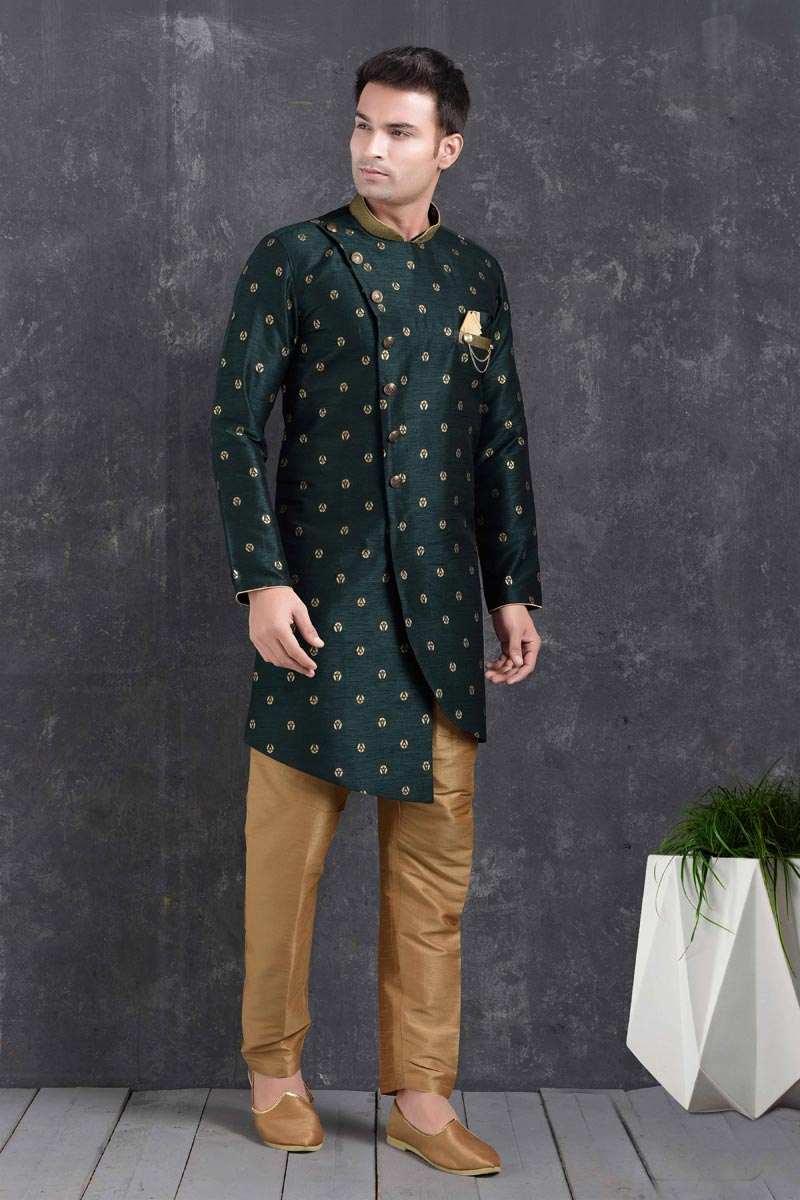 Dark Green Color Art Silk Fabric Sangeet Wear Stylish Indo Western For Men