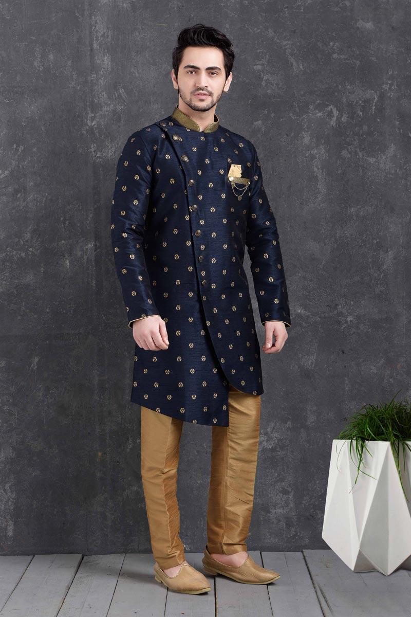 Navy Blue Color Art Silk Fabric Wedding Wear Designer Indo Western For Men