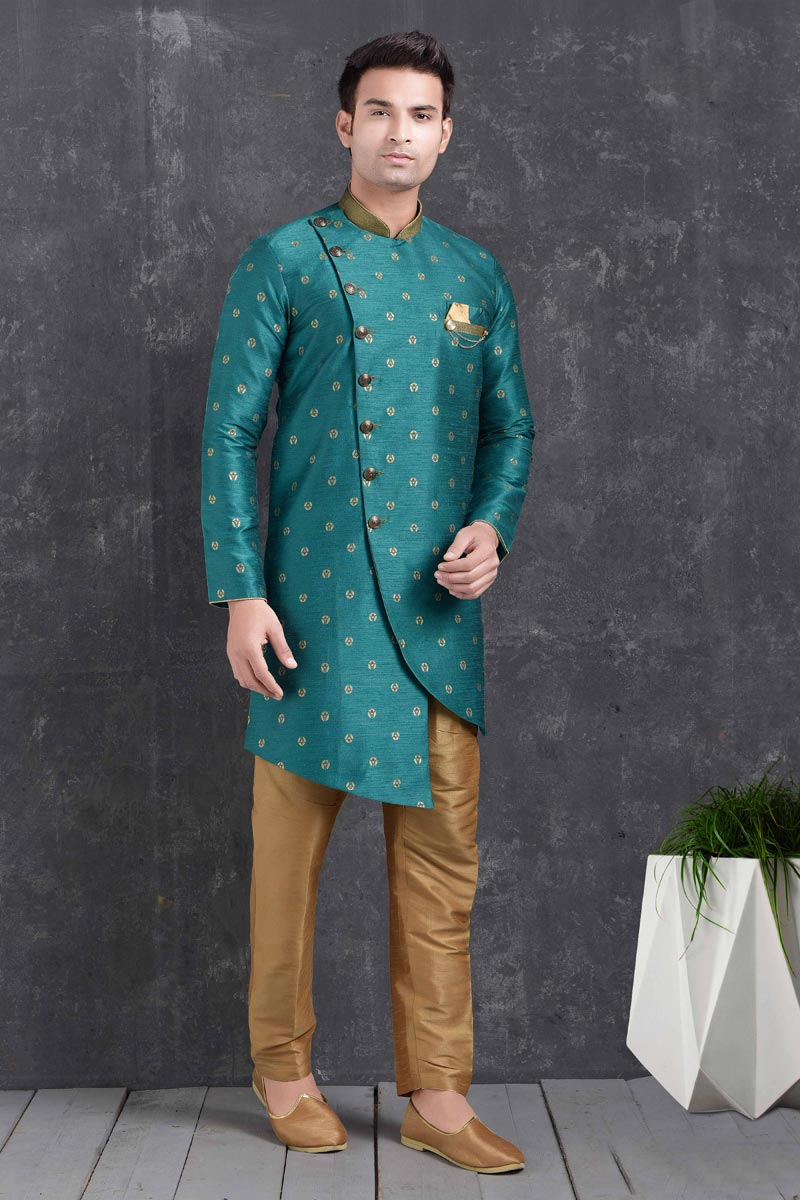 Teal Color Art Silk Fabric Reception Wear Fancy Indo Western For Men