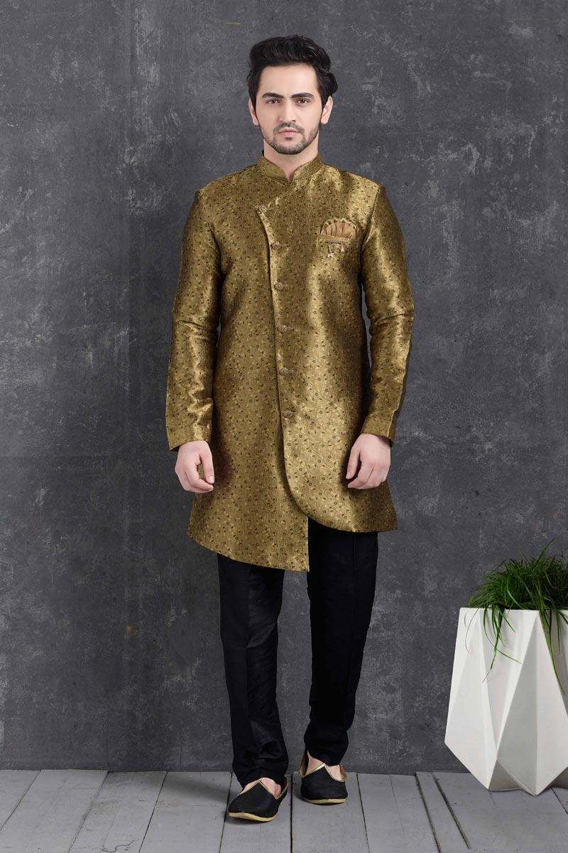 Golden Color Art Silk Fabric Function Wear Fancy Indo Western For Men