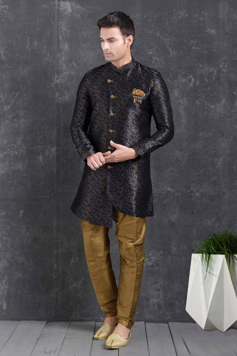 Navy Blue Color Art Silk Fabric Festive Wear Trendy Indo Western For Men