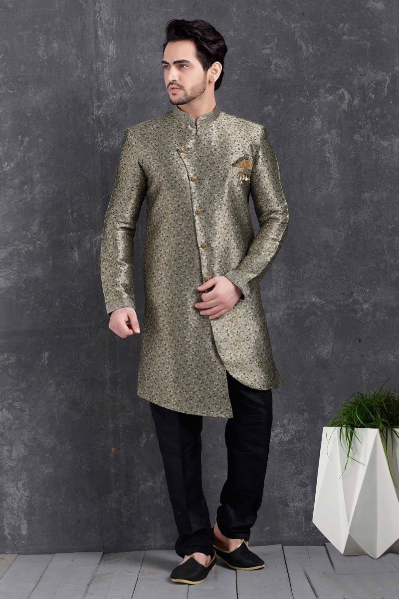 Grey Color Art Silk Fabric Sangeet Wear Stylish Indo Western For Men