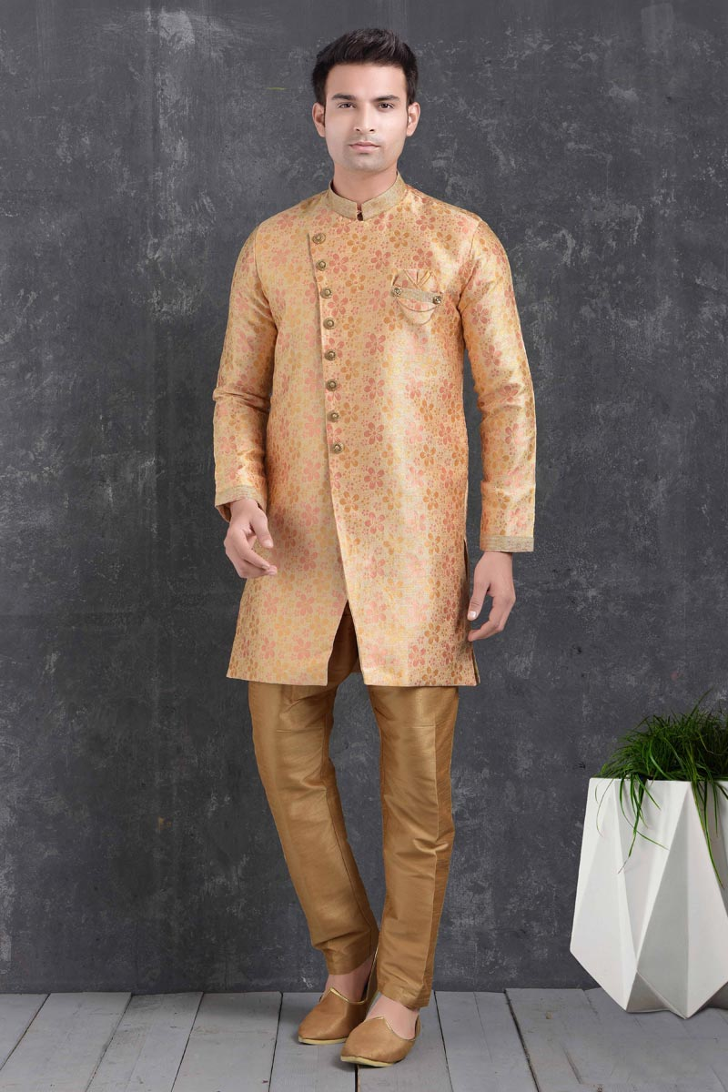Art Silk Fabric Wedding Wear Designer Indo Western For Men